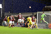 Northamptons David Buchanan just heads over during the The FA Cup match between Northampton Town and Milton Keynes Dons at Sixfields Stadium, Northampton, England on 9 January 2016. Photo by Dennis Goodwin.