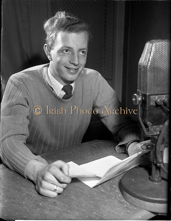 01/03/1956<br /> 03/01/1956<br /> 01 March 1956<br /> Radio Review special for Radio Eireann Junior Sorts Magazine show. Fred Cogley, Rugby reporter on Junior Sport Magazine show from Radio Eireann at R.E. Studios.