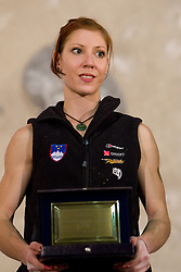 Overall lead second placed Mina Markovic of Slovenia at medal ceremony during Final IFSC World Cup Competition in sport climbing Kranj 2010, on November 14, 2010 in Arena Zlato polje, Kranj, Slovenia. (Photo By Vid Ponikvar / Sportida.com)