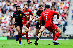 Alex Cuthbert of Exeter Chiefs is challenged by Jamie George of Saracens - Mandatory by-line: Ryan Hiscott/JMP - 01/06/2019 - RUGBY - Twickenham Stadium - London, England - Exeter Chiefs v Saracens - Gallagher Premiership Rugby Final