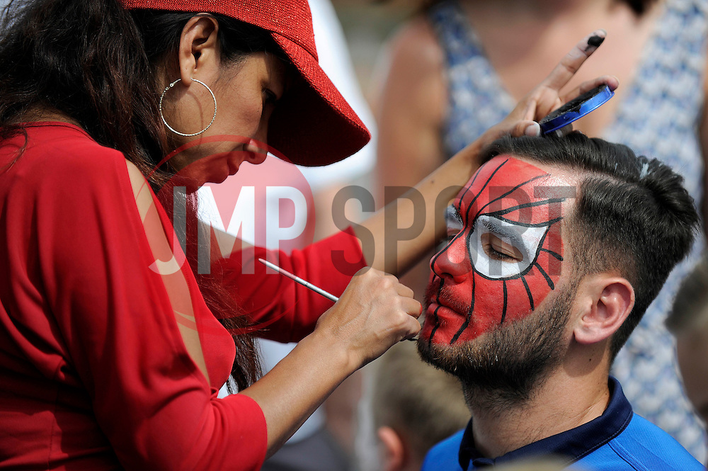 Bristol Rovers' Jake Gosling has his face painted - Photo mandatory by-line: Dougie Allward/JMP - Mobile: 07966 386802 27/07/2014 - SPORT - FOOTBALL - Bristol - Bristol Rovers - - Memorial Stadium - Fun Day