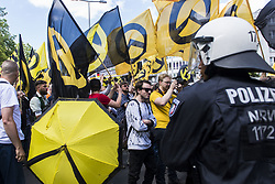 June 17, 2017 - Berlin, Germany - A few hundred activists of the New Right Identity Movement demonstrating in the district Wedding under the motto 'Future Europe - for the defense of our identity, culture and way of life.' About 1,500 counter-demonstrators blocked the route of the Identitarian Movement who discontinued their demonstration. Police made several arrests in the course of the blockades. (Credit Image: © Jan Scheunert via ZUMA Wire)