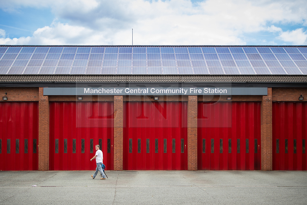 © Licensed to London News Pictures . FILE PICTURE DATED 26/06/2017 of a GV of Manchester Central Community Fire Station . Local fire crews have expressed frustration , laid bare in the Kerslake Review published today (27th March 2018) after they were held back from supporting other emergency services on the evening of 22nd May 2017 for nearly two hours after the bombing of the Manchester Arena . Photo credit : Joel Goodman/LNP