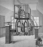 Giant galvanometer (instrument for measuring small electric currents) in the Physics Laboratory, Cornell University, USA. Wood engraving 1886