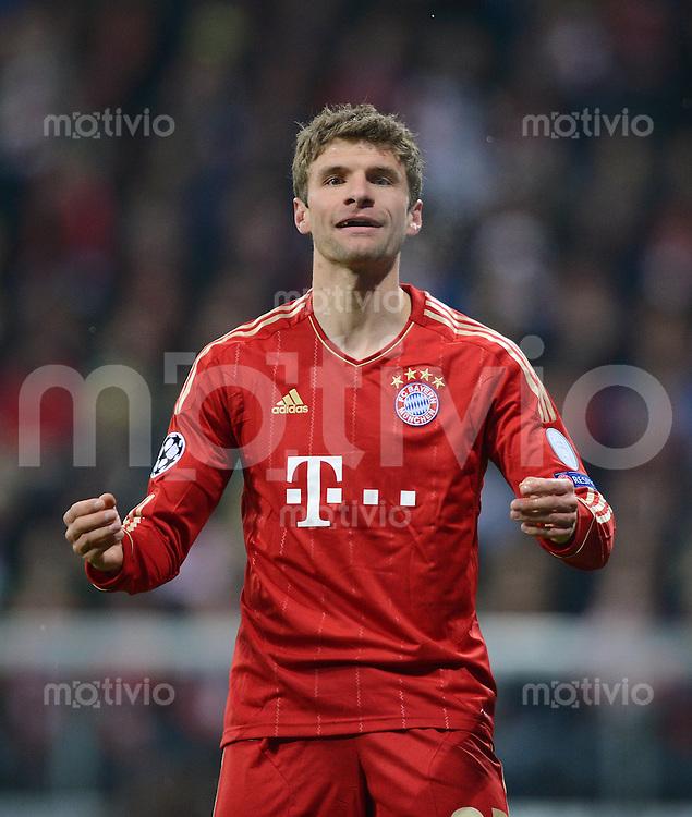 FUSSBALL  CHAMPIONS LEAGUE  ACHTELFINALE  HINSPIEL  2012/2013      FC Bayern Muenchen - FC Arsenal London     13.03.2013 Thomas Mueller (FC Bayern Muenchen) emotional