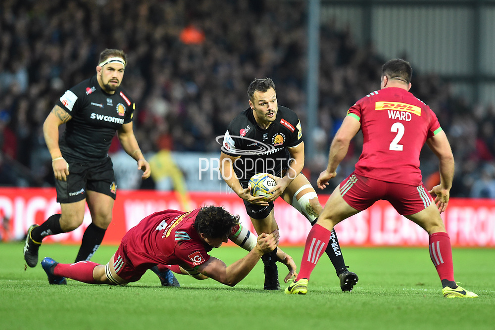 Phil Dollman of Exeter Chiefs charges forward during the Aviva Premiership match between Exeter Chiefs and Harlequins at Sandy Park, Exeter, United Kingdom on 19 November 2017. Photo by Graham Hunt.