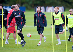 CARDIFF, WALES - Tuesday, October 7, 2008: Wales' L-R Sam Vokes, Craig Davies and James Collins during training at the Vale of Glamorgan Hotel ahead of the 2010 FIFA World Cup South Africa Qualifying Group 4 match against Liechtenstein. (Photo by David Rawcliffe/Propaganda)