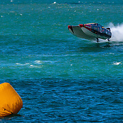 Hogs Breth goes aerial, Outboard Engine Class, Offshore Superboat Championships, Coffs Harbour, New South Wales, Australia