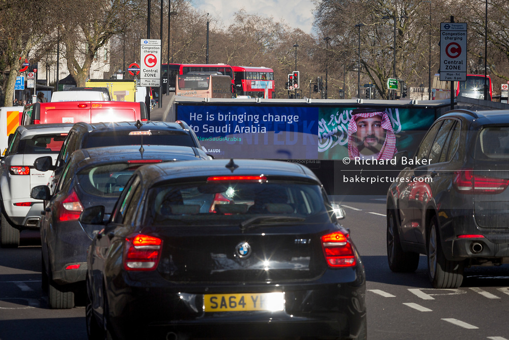 "On the first day of his official 3-day visit to London, the face of Saudi Crown Prince Mohammed bin Salman appears on a large billboard at the entrance of the Hyde Park Corner underpass, on 7th March 2018, in London England. Industry sources said the Saudis could be spending close to £1m on the city-wide campaign, which includes dozens of prime poster sites around London and newspaper ads. ""He is bringing change to Saudi Arabia,"" the ads say, with a large photo of Crown Prince Mohammed bin Salman and the hashtag #ANewSaudiArabia."