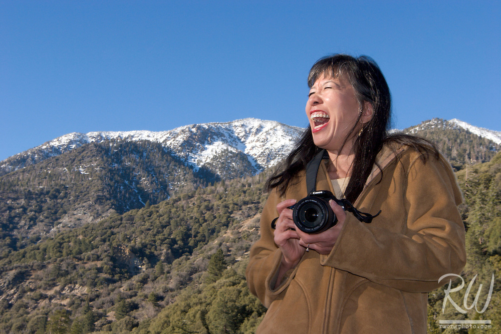 Female Photographer Laughing at Forest Falls, San Bernardino National Forest, California