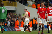 Photo: Leigh Quinnell.<br /> Tottenham Hotspur v Manchester United. The Barclays Premiership. 17/04/2006. Man Utds' Wayne Rooney walks off after a job well done.