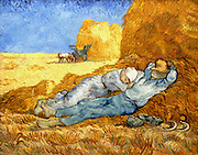 Vincent Van Gogh (1853 – 1890) Dutch post-Impressionist painter. Van Gogh suffered from mental illness and died from a self-inflicted gunshot wound. 'La meridienne' farm couple is taking a mid-day nap under the shade of a haystack. painted from December 1
