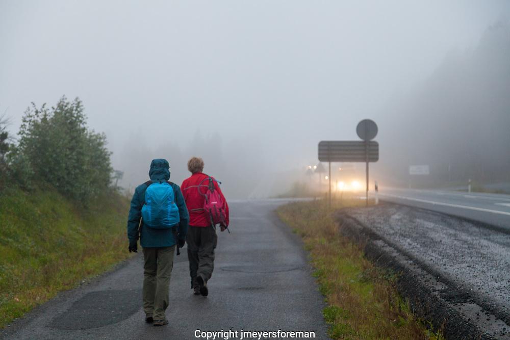 walking in the rain, Galicia, The Way, Camino to Santiago de Compostela, Spain