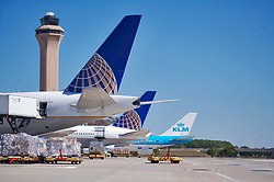 Continental and KLM jets being loaded with cargo at Houston's Intercontinental Airport