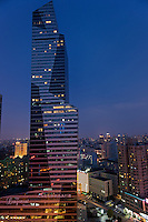 The Longemont Shanghai Hotel at night.