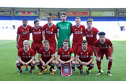 BIRKENHEAD, ENGLAND - Wednesday, September 13, 2017: Liverpool players line-up for a team group photograph before the UEFA Youth League Group E match between Liverpool and Sevilla at Prenton Park. Back row L-R: Rhian Brewster, Liam Coyle, Conor Masterson, goalkeeper Kamil Grabara, George Johnston, Liam Millar. Front row L-R: Edvard Sandvik Tagseth, Herbie Kane, Ben Woodburn, Adam Lewis, Curtis Jones. (Pic by Paul Greenwood/Propaganda)
