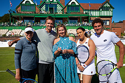 LIVERPOOL, ENGLAND - Friday, June 22, 2018: Joanne Foreman, MSB solicitors with l-r: Vera Zvonareva (RUS) Robert Kedrick (USA), Marion Bartolli (FRA) and Alessandro Giannessi (ITA) during day two of the Williams BMW Liverpool International Tennis Tournament 2018 at Aigburth Cricket Club. (Pic by Paul Greenwood/Propaganda)