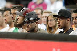 11.09.2014, City Arena, Barcelona, ESP, FIBA WM, USA vs Litauen, Halbfinale, im Bild FC Barcelona's players Rafinha, Daniel Alves and Neymar Santos Jr // during FIBA Basketball World Cup Spain 2014 semi-final match between United States and Lithuania at the City Arena in Barcelona, Spain on 2014/09/11. EXPA Pictures © 2014, PhotoCredit: EXPA/ Alterphotos/ Acero<br /> <br /> *****ATTENTION - OUT of ESP, SUI*****