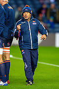 Edinburgh head coach Richard Cockerill watches the warm up before the Guinness Pro 14 2019_20 match between Edinburgh Rugby and Scarlets at BT Murrayfield Stadium, Edinburgh, Scotland on 26 October 2019.