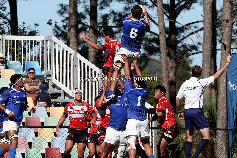 Josh Dowsing. Samoa v Japan Under 20s. 2015 Oceania Rugby Junior Championship. Bond University, Gold Coast Australia. Saturday 9 May 2015. Photo: Clay Cross / photosport.co.nz
