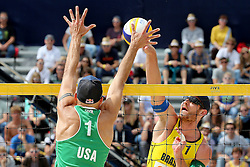 13.07.2014, Beach Village, Gstaad, SUI, FIVB Beach Volleyball Grand Slam Gstaad, im Bild Alison Cerutti (BRA) gegen Philip Dalhauser (USA) // during the FIVB Beach Volleyball Grand Slam Gstaad at the Beach Village in Gstaad, Switzerland on 2014/07/13. EXPA Pictures © 2014, PhotoCredit: EXPA/ Freshfocus/ Claude Diderich<br /> <br /> *****ATTENTION - for AUT, SLO, CRO, SRB, BIH, MAZ only*****