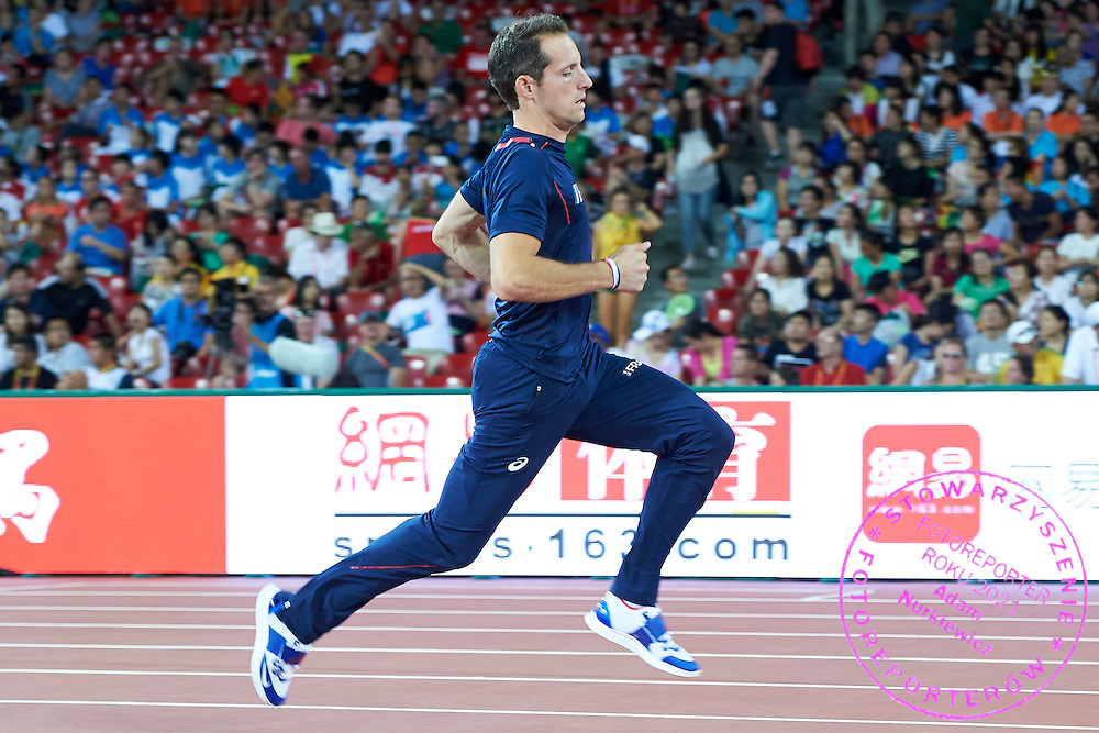 Renaud Lavillenie of France competes in men&rsquo;s pole vault qualification during Day First of the 15th IAAF World Athletics Championships Beijing 2015 at Bird's Nest National Stadium in Beijing, China.<br /> <br /> China, Beijing, August 22, 2015<br /> <br /> Picture also available in RAW (NEF) or TIFF format on special request.<br /> <br /> For editorial use only. Any commercial or promotional use requires permission.<br /> <br /> Adam Nurkiewicz declares that he has no rights to the image of people at the photographs of his authorship.<br /> <br /> <br /> Mandatory credit:<br /> Photo by &copy; Adam Nurkiewicz / Mediasport
