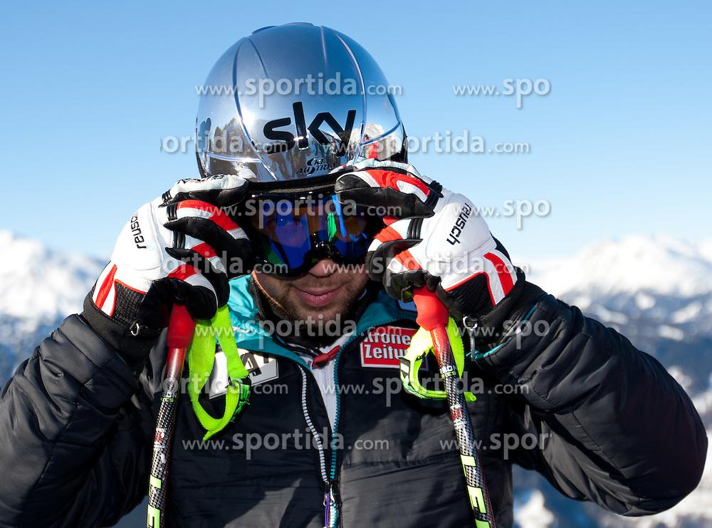 27.12.2011, Pista Stelvio, Bormio, ITA, FIS Weltcup Ski Alpin, Herren, Abfahrt, 1. Training, im Bild am Start Mario Scheiber (AUT) // Mario Scheiber of Austria at the start before first practice session downhill of FIS Ski Alpine World Cup at 'Pista Stelvio' in Bormio, Italy on 2011/12/27. EXPA Pictures © 2011, PhotoCredit: EXPA/ Johann Groder