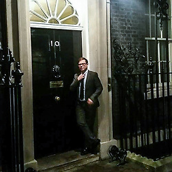© Licensed to London News Pictures . Undated collect photo of Cllr MATTHEW SEPHTON in front of the door of 10 Downing Street . Sephton (41) , a Conservative Party councillor in Altrincham and teacher at Westmorland Primary School in Stockport , was arrested by National Crime Agency officers on December 1st 2016 . The school and the Conservative Party have both suspended him . Photo credit: LNP