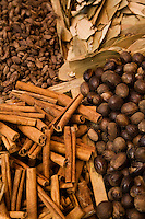 UAE, Dubai, cinnamon sticks and other spices for sale at the spice souq in Deira