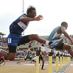 01 May 2008: Cantrel Riley (1) of South Plaqueimines high school jumps over his final hurdle in the 110 meter hurdles, Riley finished with a time of 16.31 seconds claiming a third place finish at the 1A, 2A Louisiana State High School track and field finals at LSU's Bernie Moore stadium in Baton Rouge, LA.