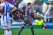 Leeds United defender Ben White (5) reacts to winning during the EFL Sky Bet Championship match between Huddersfield Town and Leeds United at the John Smiths Stadium, Huddersfield, England on 7 December 2019.