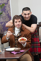 Robert Burns lookalike Chris Tait samples controversial.restaurant Kismot's new Burn's Day haggis curry, with Abdul Ali from Kismot..Pic © Michael Schofield...