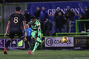 Forest Green Rovers Reece Brown(10) shoots at goal during the EFL Sky Bet League 2 match between Forest Green Rovers and Mansfield Town at the New Lawn, Forest Green, United Kingdom on 29 January 2019.