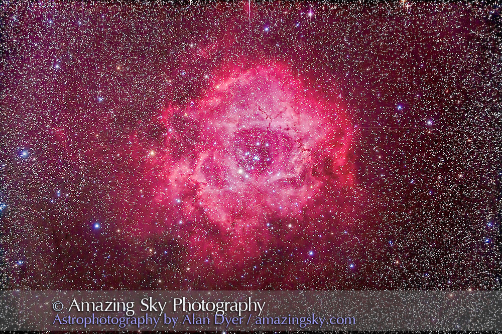 The Rosette Nebula, NGC 2237-9, and the central star cluster NGC 2244 in Monoceros. This is a stack of 5 x 12 minute exposures at ISO 800 with the filter-modified Canon 5D MkII and Astro-Physics 105mm Traveler apo refractor at f/5.8 with the 6x7 field flattener. Taken from Timor Cottage, Coonabarabran, Australia, Deceember 17/18, 2012.