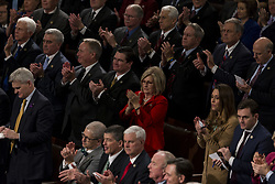 January 30, 2018 - Washington, District Of Columbia, USA - Republican members of Congress stand and applaudude as United States President Donald J. Trump delivers the State Of The Union Address to a joint session of Congress at the United States Capitol in Washington, D.C. on January 30, 2018. (Credit Image: © Alex Edelman via ZUMA Wire)