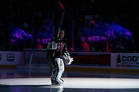 KELOWNA, BC - SEPTEMBER 21:  Goalie James Porter #1 of the Kelowna Rockets enters the ice for home opener against the Spokane Chiefs at Prospera Place on September 21, 2019 in Kelowna, Canada. (Photo by Marissa Baecker/Shoot the Breeze)
