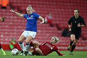 Liverpool women midfielder Rhiannon Roberts (4) tackles Everton women defender Kika van Es (5) during the FA Women's Super League match between Liverpool Women and Everton Women at Anfield, Liverpool, England on 17 November 2019.