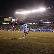 Angel Di Maria, Argentina, takes a corner kick during the Argentina Vs Ecuador International friendly football match at MetLife Stadium, New Jersey. USA. 31st march 2015. Photo Tim Clayton