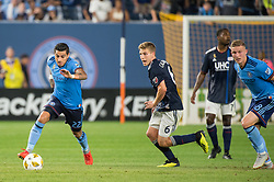 September 5, 2018 - Bronx, New York, United States - New York City defender RONALD MATARRITA #22 dribbles the ball upfield while New England Revolution midfielder SCOTT CALDWELL #6 looks on during a regular season match at Yankee Stadium in Bronx, NY.  New England Revolution defeats New York City FC 1 to 0 (Credit Image: © Mark Smith/ZUMA Wire)