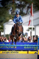 Ahlmann Christian, (GER), Leander <br /> 5 years of age<br /> FEI World Breeding Jumping Championships<br /> Lanaken 2015<br /> © Hippo Foto - Dirk Caremans<br /> 20/09/15