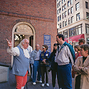Massachusetts, Boston; Beacon Hill; Tour Guide In Colonial Costume Stands Outside Old South Church With Tour Group