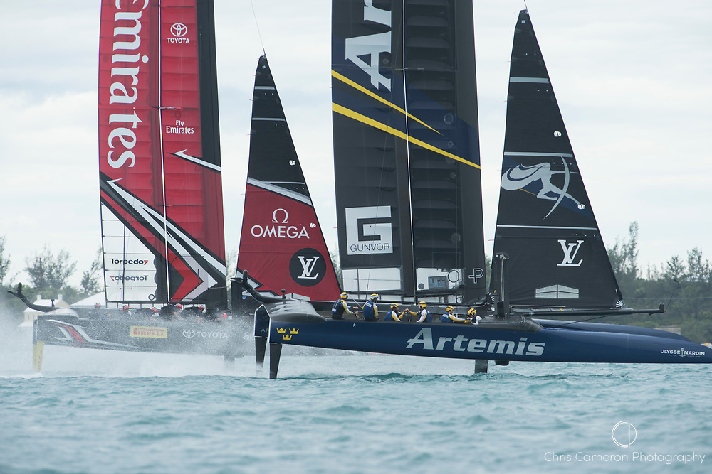 The Great Sound, Bermuda. 11th June 2017. Emirates Team New Zealand and Artemis Racing (SWE) start race four of the Louis Vuitton America's Cup Challenger playoff finals. Artemis won the race to level the standings at 2 - 2.