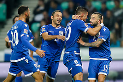 Pieros Sotiriou of Cyprus and Fotis Papoulis of Cyprus celebrates during football match between National Teams of Slovenia and Cyprus in Final Tournament of UEFA Nations League 2019, on October 16, 2018 in SRC Stozice, Ljubljana, Slovenia. Photo by  Morgan Kristan / Sportida