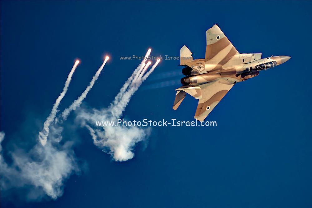 Israeli Air force (IAF) Fighter jet F-15I (Raam) in flight Emitting anti-missile flares
