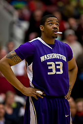 February 13, 2010; Stanford, CA, USA;  Washington Huskies forward Tyreese Breshers (33) during the first half against the Stanford Cardinal at Maples Pavilion. Washington defeated Stanford 78-61.