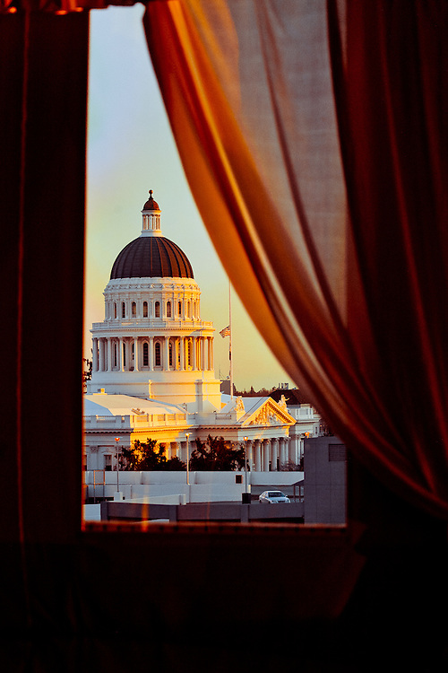 Afternoon image of California's state capitol building from a 7th floor window at the Citizen Hotel.