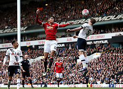 Chris Smalling of Manchester United is beaten to a header by Jan Vertonghen of Tottenham Hotspur - Mandatory by-line: Robbie Stephenson/JMP - 10/04/2016 - FOOTBALL - White Hart Lane - London, England - Tottenham Hotspur v Manchester United - Barclays Premier League