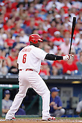 PHILADELPHIA, PA - MAY 21: Ryan Howard #6 of the Philadelphia Phillies bats against the Texas Rangers at Citizens Bank Park on May 21, 2011 in Philadelphia, Pennsylvania. The Phillies won 2-0. (Photo by Joe Robbins) *** Local Caption *** Ryan Howard