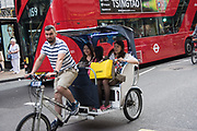 Pedal carriages in the West End, London.  25 July 2016