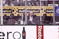 11 June 2012:  PA Announcer David Courtney in his seat at center ice during game 6 of the Stanley Cup Final between the New Jersey Devils and the Los Angeles Kings at the Staples Center in Los Angeles, CA. The LA Kings won the Stanley Cup this night in sports history.